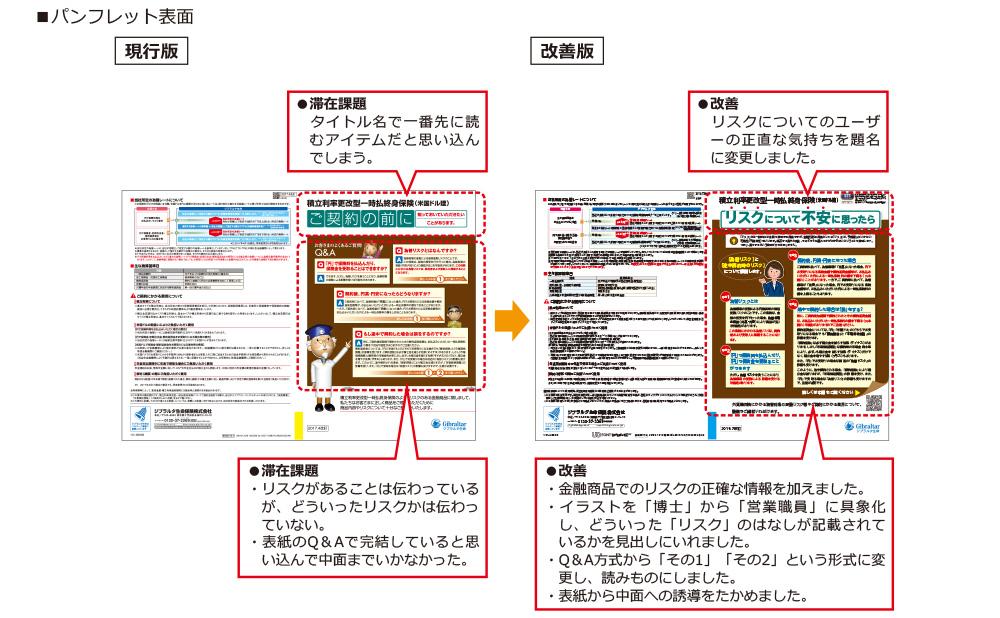 パンフレット表面 現行版→改善版